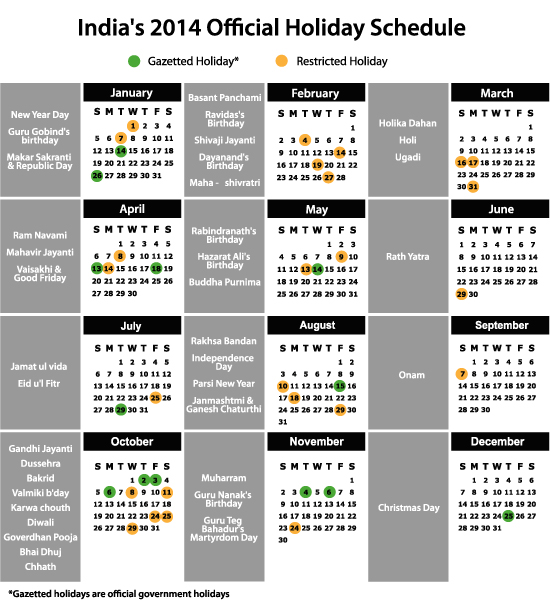 news india announces holiday schedule